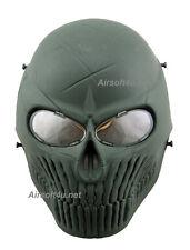 Skull skeleton In OD Airsoft Paintball Full Face PC Len Protection Mask BB Gun