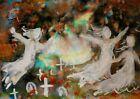 ORIGINAL ACEO Halloween GRAVEYARD Soul GHOSTS Fall Autumn Spirit Spooky ATC ART