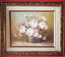 VINTAGE ROBERT COX (1934-2001) OIL PAINTING ON WOOD DAISIES IN BARREL WITH FRAME