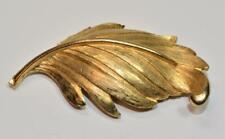 Signed KRAMER Goldtone Matte Finish LEAF Shape Pin Brooch