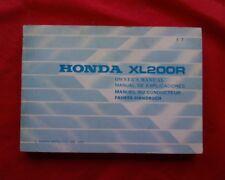 1982 Honda XL200R, XL200 R, XL 200, R Owners instruction Manual, book. handbook