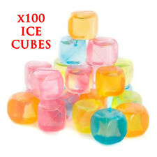 100 PLASTIC FREEZER ICE CUBE COOL DRINK CUBE REUSABLE FOREVER COLORED HOME PARTY