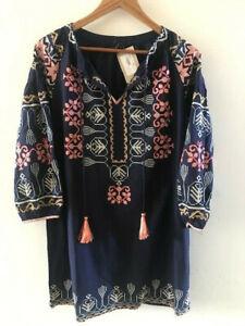 SUNDANCE CATALOG CLEO Embroidered Tunic Dress LARGE Orig. $128 NWT
