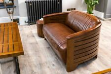 More details for leather sofa luxurious art deco sofa classic style leather sofa 1930s style