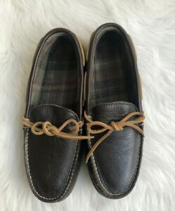 L.L. Bean Men's Handsewn Brown Leather Flannel-Lined Moccasins Sleepers Sz 9 M