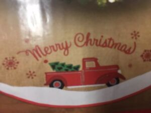 """RED TRUCK Christmas Tree Skirt 48""""  vintage farmhouse-embroidered  truck"""