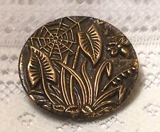 Large Brass Victorian Picture Button with Plants, Spider Web & Bee