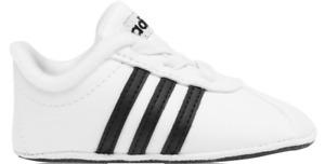Adidas Baby Vl Court 2.0 Crib Shoes Size 20 US 4K UK 4K White Black New