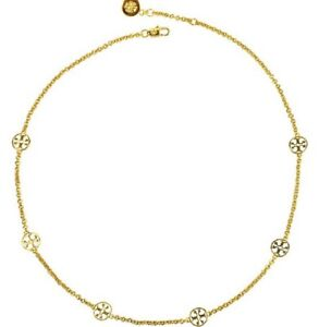 TORY BURCH Delicate Logo Necklace Gold Plated