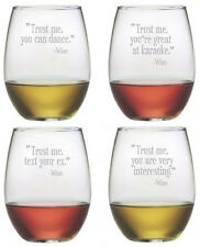 Stemless Wine Glasses Trust Me Set/4 Hand Etched Gifts Funny Quotes Bff Gifts