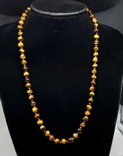Vintage Tiger Eyes stone beads necklace, 1940s.