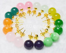 Wholesale 9 Pairs 10mm Jewelry Multicolor Natural Jade Gold Stud Earrings JE61