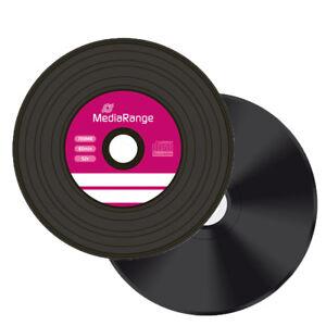 10 Mediarange Black Bottom Vinyl look CD-R Blank CD R discs 52x 700MB MR225