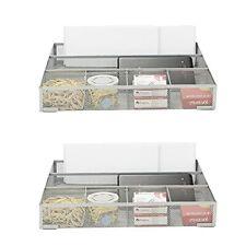 Mind Reader 2 Piece Mesh Drawer Office Desk Supplies Organizer 6 Compartment
