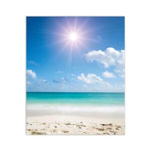 -CUSTOM MADE- Kitchen Splashback 30x36 Tempered Glass Sea Beach Sun Landscape