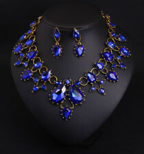 blue glass crystal gem wrap bib Necklace/Earrings SET US SELLER SHIP FROM NYC