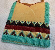 Beaded Native American neck pouch, brain tanned buckskin, Cherokee colors tepee