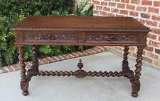 Antique French Oak Renaissance Barley Twist Desk Bureau Plat Table Drawers Large