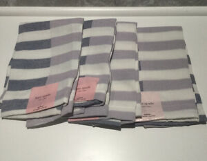 KATE SPADE CLOTH SPRINGTIME YARN DYE NAPKINS SET OF 4 GRAY & LILAC NEW WITH TAG