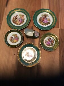 Collection Of Pretty Limoges Fragonard Green Ceramics