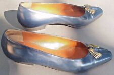 BALLY Blue Leather Pumps Heels Shoes with Goldtone Metal Bow  9.5 N Italy