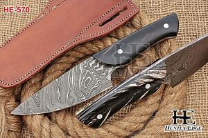 HUNTEX Custom Handmade Damascus Steel 230 mm Grained Buffalo Horn Hunting Knife