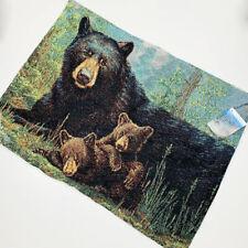 "Nap Time Bear Cubs Family Woven Tapestry Pillow Sham Set 2 Standard 26""x20"""