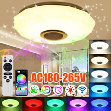 Dimmable RGBW LED Ceiling Light bluetooth App Music Speaker Lamp Bedroom Remote