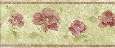 Red Burgundy Roses Flower Floral Gold Crackled Wallpaper Wall Border