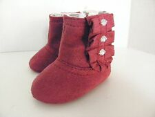 Stepping Stones Infant Baby Girl~Fuschia~Bootie BOOTS~Sz 2~Soft Suede~Gem Design