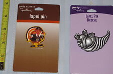 Lot of 2 Pins - 1 Cornucopia & 1 Turkey Pilgrim Thanksgivng Lapel Pin Hallmark