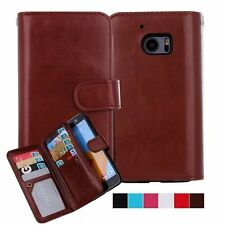 For HTC 10 /One M10 Luxury Removable Leather Wallet 9 Card  Flip Dual Case Cover