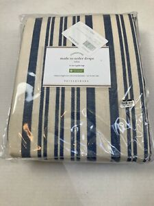 "Pottery Barn Antique Stripe Print Curtains Drapes 2-in-1 Pole Top 50"" X 96"" Blue"