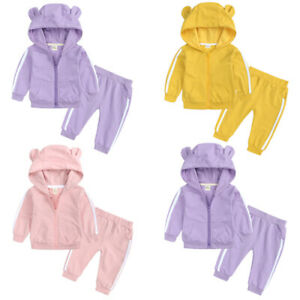 Toddler Kids Baby Girls Tracksuit Hooded Tops Pants Outfits Clothes Set