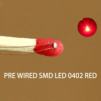 C0402R 20pcs Pre-soldered 0402 SMD Led micro 0.1mm Copper Wired RED  NEW