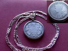 "1912 Canada .925 Silver 25c Coin Pendant George V Classic on a 26"" Silver Chain"