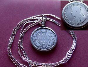 """1912 Canada Silver Quarter Pendant on a 26"""" Rhodium Sterl Silver Italian Chain"""