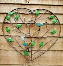Fair Trade Hand Made Metal Heart Birds In Tree Wall Art Hanging Plaque