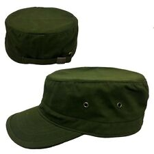 Olive Army Plain Solid Blank GI Military Flat Cadet Castro Patrol Fitted Cap Hat