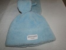 Abercrombie & Fitch Kids Girl S / M  Beanie Hat Cap Gloves Mittens Set Blue BNWT