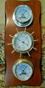 SPRINGFILED Nautical Weather Station Thermometer Barometer Humidify wood base