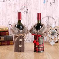 Santa Claus Wine Bottle Cover Gift Bag Christmas Dinner Party Xmas Table Decor S