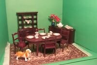 Lot of Vintage Marx Doll house Dining Room Furniture & China dollhouse 1950's