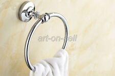 Baño Moderno Redondo Anillo de toallas de mano Acabado en Cromo Pulido Montado en Pared Soporte
