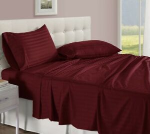 Damask Stripe 100% Egyptian Cotton 500 Thread Count 4 Piece Sheet Set. Red, NEW!