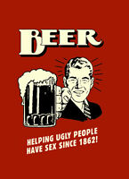 "BEER Helping Ugly people A2 CANVAS PRINT Art Poster RED 18""X 24"""