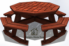Easy DIY Octagon Picnic Table - Design Plans Instructions for Woodworking 09