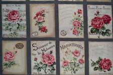 coupon de 8 vignettes de tissu patchwork shabby Mary Rose ton noir