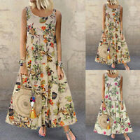 Vintage Women's Dress O-Neck Floral Printed Sleeveless Beach Long Maxi Sundress