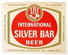 International Breweries SILVER BAR BEER  label FL 12oz -  IBI Logo